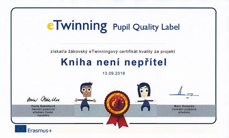 Certifikát Quality Label za naše eTwinningové projekty